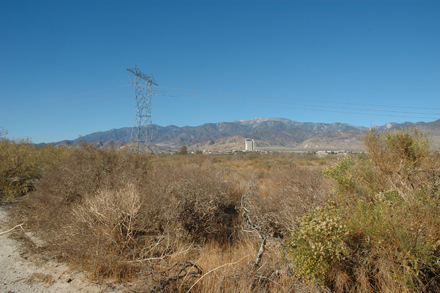 View north from Cabazon camp site of 1908. Morongo Casino and San Gorgonio Peak in background. Lori Hargrove